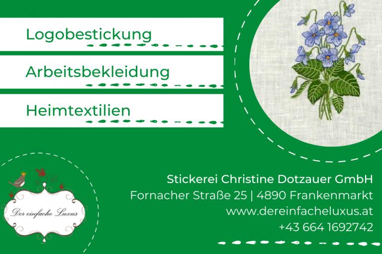Printwerbung für Stickerei Christine Dotzauer GmbH