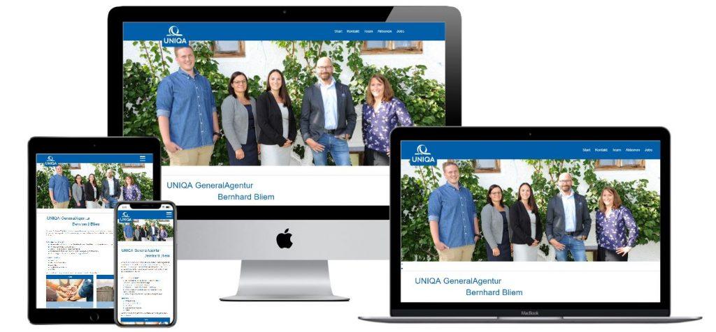 Betreuung der bestehenden Webseite für Uniqa Generalagentur Bernhard Bliem