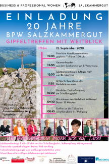 Einladung 20 Jahre BPW Club Salzkammergut